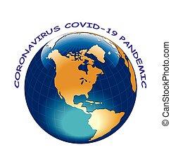 Representation of Coronavirus COVID 19 engulfing the planet isolated on white background