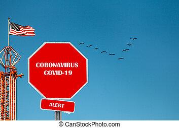 Coronavirus COVID-19 illustrative stop sign digitaly added