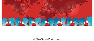 coronavirus, covid-19., infection., schuetzen, medizin, leute, gegen, vaccination., crowd, contamination., gruppe, epidemie, antivirus, masks., sich, tragen, virus, pandemisch
