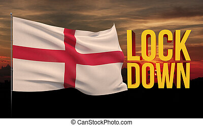 Coronavirus COVID-19 lockdown concept with waving national flag of England. Pandemic 3D illustration.