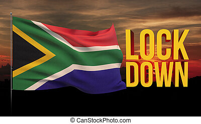 Coronavirus COVID-19 lockdown concept with waving national flag of South Africa. Pandemic 3D illustration.