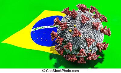 coronavirus covid-19 on Brazilian flag. variant concept.