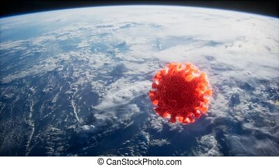 Coronavirus COVID-19 on the Earth orbit. elements furnished by Nasa