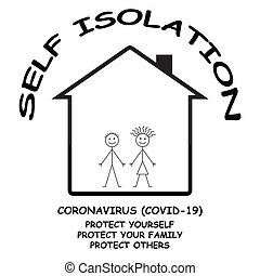 Coronavirus COVID 19 self isolate at home message to protect yourself, your family and others isolated on white background