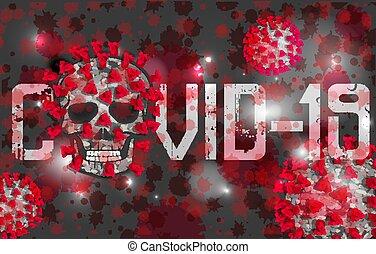 Coronavirus Covid-19 skull background. vector illustration