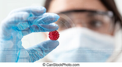 woman scientist holding a coronavirus in a research lab, 3d illustration