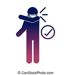 coronavirus covid 19, wearing medical mask, cover mouth with elbow, health pictogram, gradient style icon