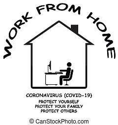 Coronavirus COVID 19 work at home remotely public information message to protect yourself, your family and others isolated on white background
