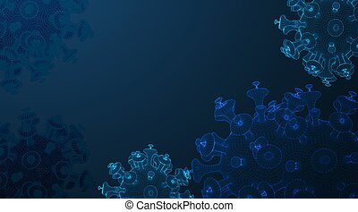 coronavirus COVID-2019 on a blue futuristic background. Deadly type of virus 2019-nCoV. 3D models of coronavirus bacteria. Vector illustration