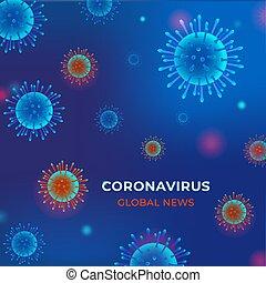 Coronavirus COVID-2019 on blue background. Corona Virus 2020.