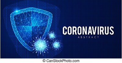 Coronavirus COVID-2019 on blue background. Virus 2019-nCoV cells. Heath security design with shining shield.