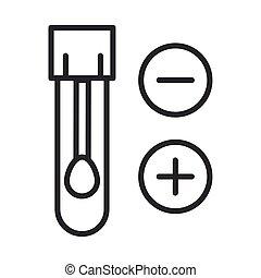 coronavirus covid19 diagnostics research, swab in flask sample medical test line icon design