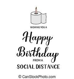 coronavirus, cumpleaños, aviador, pegatina, poster., postcard., social, covid-19, vector, distancia, saludo, cuarentena, camiseta, bandera, card., feliz, plantilla, divertido, tipografía