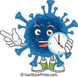 Coronavirus desease cartoon character style with a clock