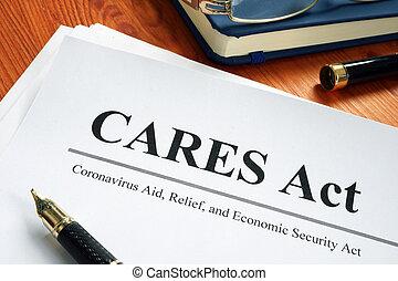 coronavirus, desk., wirtschaftlich, hilfe, sorgen, akt, sicherheit, erleichterung