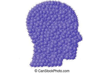 Coronavirus disease COVID-19 infection medical illustration, Arranged in a head shape , 3D illustration