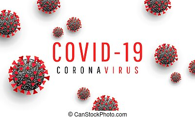 Coronavirus disease COVID-19 medical web banner with SARS-CoV-2 virus molecule and text on a white background. Horizontal vector illustration