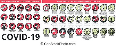 Coronavirus disease COVID-19 symptoms and basic protective measures against it. healthcare and medicine infographic icon set