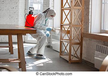 coronavirus, disinfector, oficina, o, protector, pandemic., ...