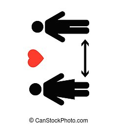 coronavirus, distancing, arrêt, icon., garder, distance., 19...