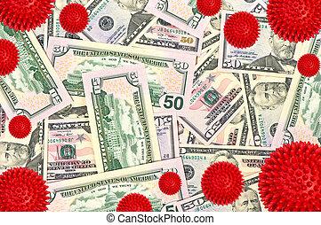 coronavirus, dollar américain, argent, épidémie, fond, ...