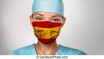 coronavirus, donner, impression, monde médical, infirmière, mask., femme heureuse, positivity., espagnol, chirurgical, espagne, asiatique, confiant, docteur, pandémie, drapeau, covid-19