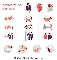 coronavirus, donts, épidémie, maladie, 2019ncov, ...