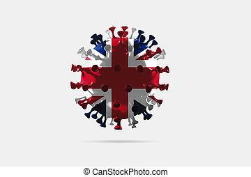 coronavirus, drapeau, enduisage, national, uni, covid-19, coloré, modèle, concept, pandémie, royaume