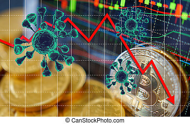 Coronavirus economic impact concept image. viral disease epidemic, 3D illustration