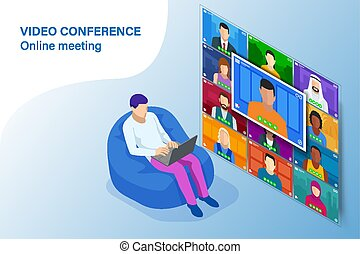 coronavirus, empresa / negocio, oficina., hogar, en línea, forma, team., pandemic., multiétnico, vídeo, conference., trabajo, home., reunión, estancia, concepto, durante, isométrico