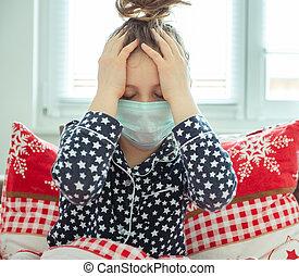 coronavirus, enfermo, niña, cuarentena, poco, máscara