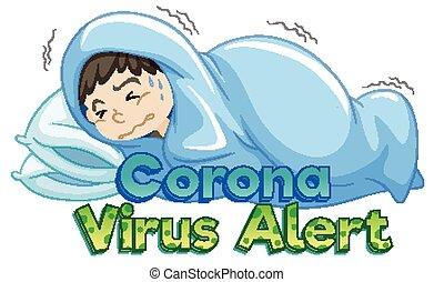 coronavirus, enfermo, tema, niño, cama