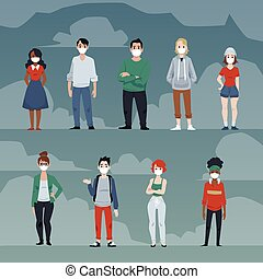 Coronavirus epidemic banner template with people wearing medical masks to prevent Covid-19, flat vector illustration. Virus bacterial infection danger.