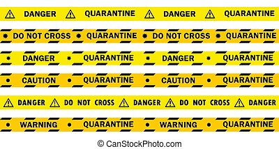 coronavirus, ers-cov, syndrome, respiratoire, nouveau, coronavirus., ensemble, sur, (2019-nkov)., lignes, danger, quarantaine, (middle, est, inscriptions, jaune, coronavirus), virus, différent