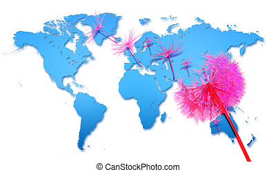 coronavirus, extensión, dominó, palabra, mapa, covid-19, ...