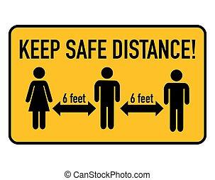 coronavirus, feet., distance, enduisage, 6, garder, sûr, ...