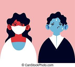 coronavirus, figure, symptômes, monde médical, gens, masque, infection, fièvre