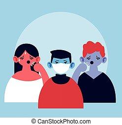 coronavirus, figure, symptômes, monde médical, gens, toux, masque, infection, fièvre