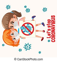 coronavirus, filles, deux, conception, masque, porter, affiche