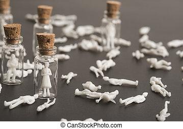 coronavirus, gente, víctimas, protegido, covid-19, pandemia