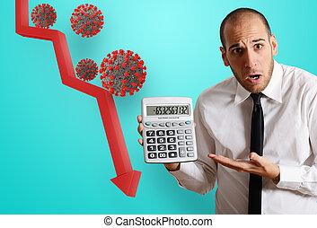 coronavirus, geschäftsmann, besorgt, wirtschaftlich, schuldig, problematisch, rezession, crisis., pandemisch, covid-19