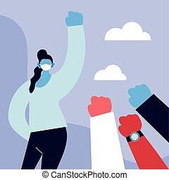 coronavirus, gezicht, vecht, medisch, masker, vrouw, poster