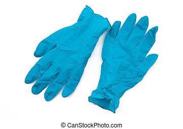 coronavirus, gloves., látex, disponible, basura, contaminado, plástico, covid-19