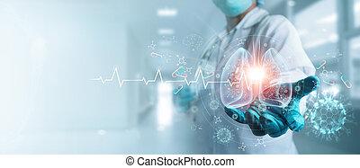coronavirus, healthcare, diagnostizieren, schirm, menschliche , schnittstelle, besitz, innenseite, lungen, innovation, klinikum, spannweite, medizinprodukt, medizin, covid-19, hintergrund, virtuell, technology., modern, doktor