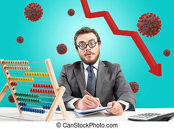 coronavirus, hombre de negocios, preocupado, económico, debido, problemático, recesión, crisis., pandemia, covid-19
