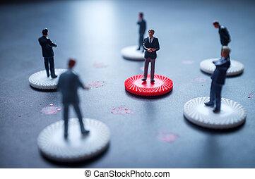 coronavirus, hommes affaires, social, distancing