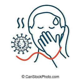 coronavirus, icône, -, syndrome, virus, symptômes, covid-19, roman, respiratoire
