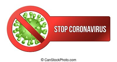 Coronavirus Icon with Red Prohibit Sign, 2019-nCoV Novel Coronavirus Bacteria. No Infection and Stop Coronavirus Concepts. Dangerous Cell from China