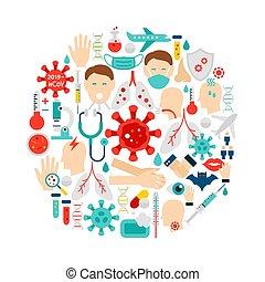coronavirus, iconos, círculo