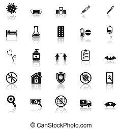 Coronavirus icons with reflect on white background